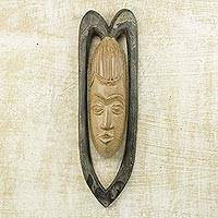 African wood mask, 'Serene Lover' - Original Handcarved West African Wood Mask Representing Love