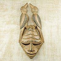 African wood mask, 'Twin Birds' - Hand Carved Sese Wood Mask with Birds from Ghana