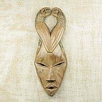 African wood mask, 'Birds Alight' - Hand Carved Sese Wood Mask with Birds from Ghana