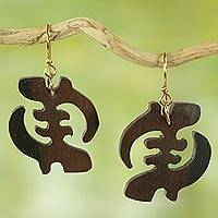 Ebony wood dangle earrings, 'Elegant Gye Nyame'