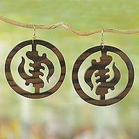 Ebony wood dangle earrings, 'Round Gye Nyame'