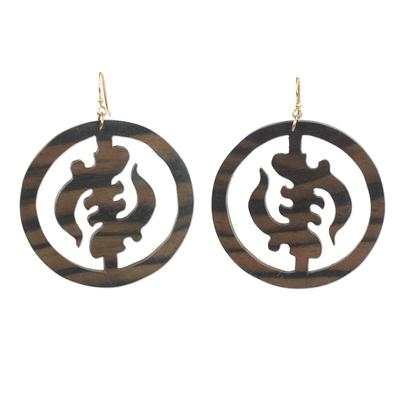 Ebony wood dangle earrings, 'Round Gye Nyame' - Ebony Wood Circular Adinkra Dangle Earrings from Ghana