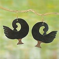 Ebony wood dangle earrings, 'Adinkra Roots' - Ebony Wood Adinkra Bird Dangle Earrings from Bali