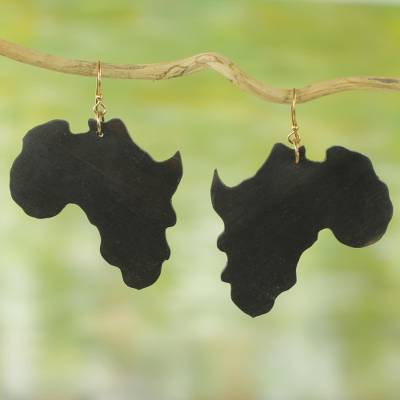 Ebony wood dangle earrings, 'Being African' - Ebony Wood Africa-Shaped Dangle Earrings from Ghana