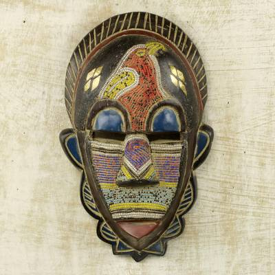 African wood mask, 'Monkey' - Handcrafted Ghanaian Sese Wood Wall Mask with Recycled Beads