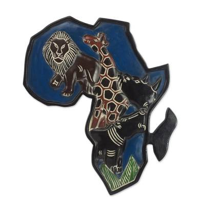 Wood wall art, 'African Animals' - Handcrafted Africa Shaped Sese Wood Wall Art from Ghana