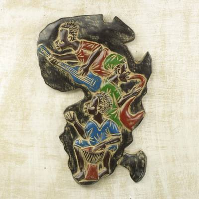 Hand Carved Africa Shaped Sese Wood Wall Art from Ghana, 'African Music'