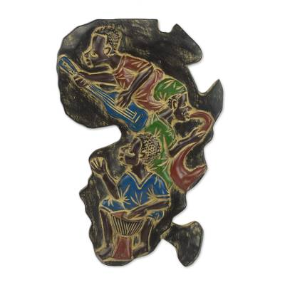 Hand Carved Africa Shaped Sese Wood Wall Art From Ghana African Music