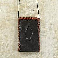 Leather cell phone shoulder bag, 'African Kite' - Black Leather Cell Phone Shoulder Bag from Ghana
