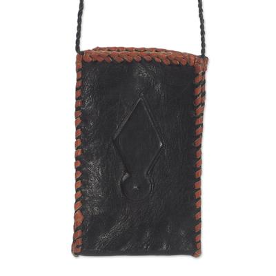 Black Leather Cell Phone Shoulder Bag from Ghana