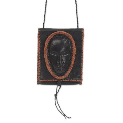 Black Leather Cell Phone Shoulder Bag with a Face from Ghana