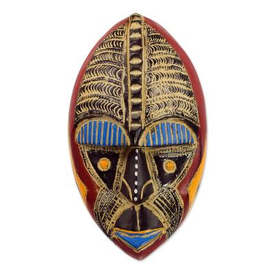African wood mask, 'Talk of Prosperity' - Prosperity is Good Handcrafted African Wood Wall Mask