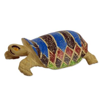 Wood sculpture, 'Adventurous Brown Turtle' - Brown and Blue Weathered Turtle Sculpture from West Africa