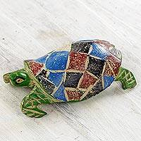 Wood sculpture, 'Adventurous Green Turtle' - Multi Colored Weathered Turtle Sculpture from West Africa