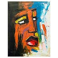 'Mood II' - Colorful Expressionist Painting of a West African Woman