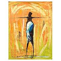 'Liberation I' - Signed Expressionist Painting of a Man Celebrating Freedom