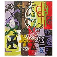 'Symbolism II' - Abstract Painting of West African Adinkra Symbols
