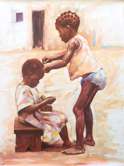 'Leisure' - Signed Impressionist Painting of Two Children from Ghana