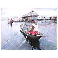 'Nzulezu' - Signed Ghanaian Impressionist Painting of a Woman on a Boat