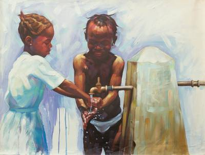 'Precious' - Signed Impressionist Painting of Two Children from Ghana