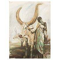 'Hopeful' - Signed Impressionist Painting of a Man with a Cow from Ghana