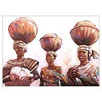 'Daybreak' - Signed Impressionist Painting of Three Women from Ghana