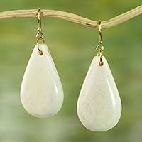 Bone dangle earrings, 'Natural Pear' - Hand Crafted Cow Bone Dangle Earrings from West Africa