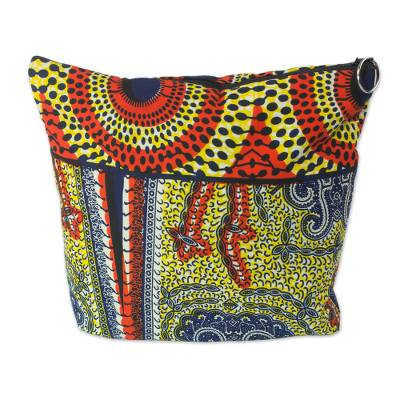 Cotton toiletry bag, 'Vibrant Ntoma' - Multicolor Patterned Cotton Lined Toiletry Bag from Ghana
