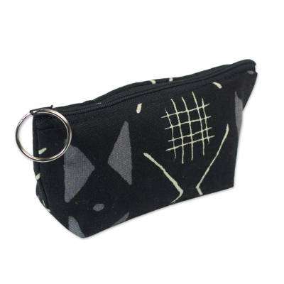 Monochrome Patterned Cotton Lined Cosmetics Bag from Ghana