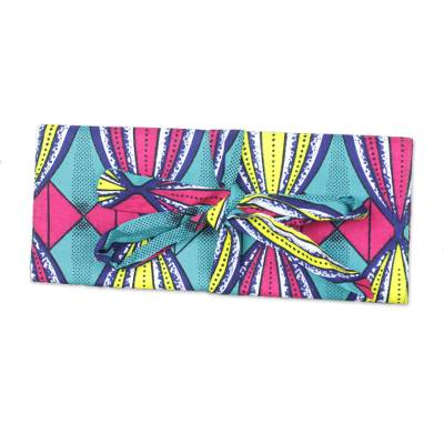 Multi-Color Printed Cotton Cosmetics Case from Ghana
