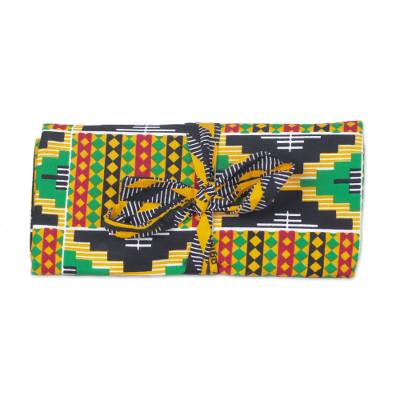 Ghanaian Kente Print Cotton Jewelry Roll with 6 Pockets