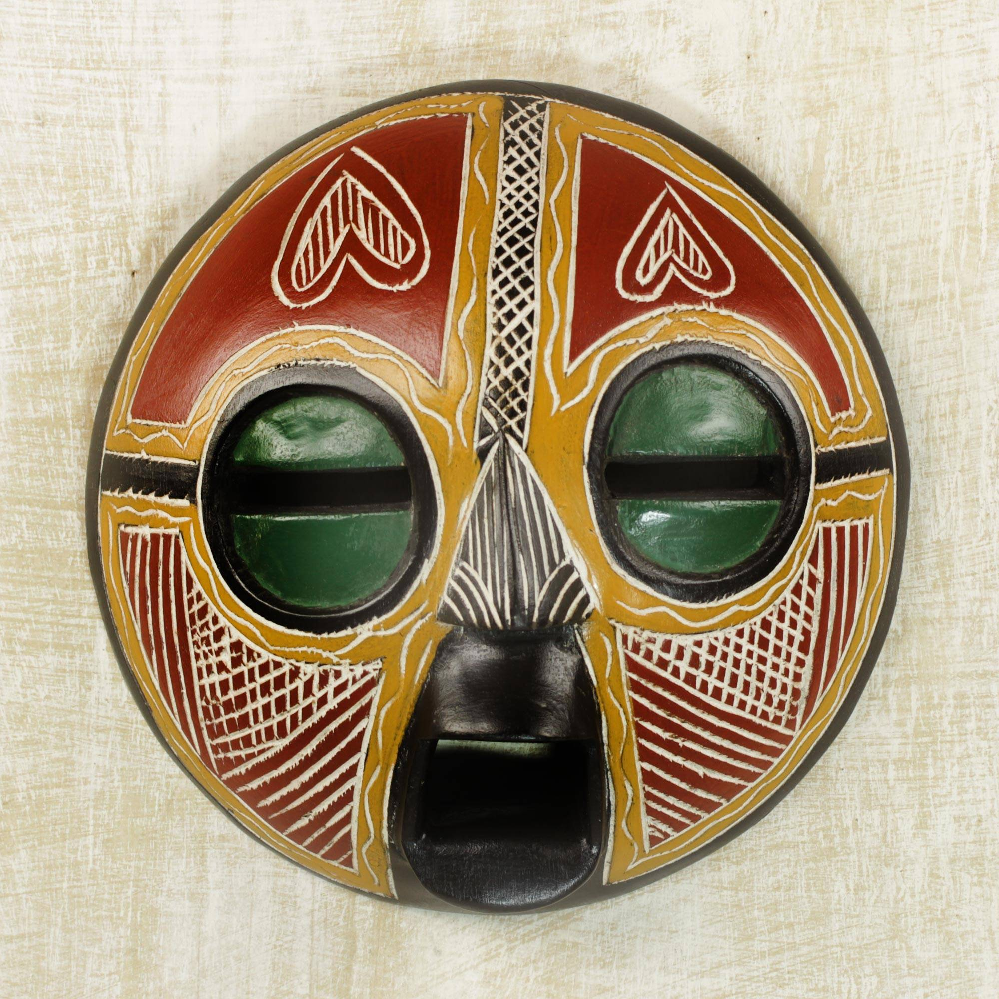 Handcrafted African Sese Wood Wall Mask From Ghana Heart Of Africa Novica
