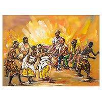 'Ashanti Dance' (2016) - Original Signed Expressionist Painting of Ashanti Dancers