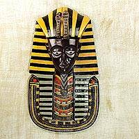 African wood mask, 'Tutankhamun' - Hand Carved Artisan Crafted Tutankhamun African Mask