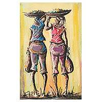 'Great Expectations' - African Expressionist Painting of Two Merchant Women