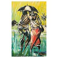 'Man Against Woman' - African Rainy Day Scene Original Painting from Ghana