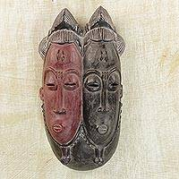 African wood mask, 'Baule Faces' - Sese Wood African Mask in Red and Black from Ghana