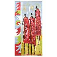 'Masai Dancers' - Signed Expressionist Painting of Maasai Dancers from Ghana