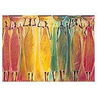 'Load Carrier' - Signed Multicolored Painting of African Women from Ghana