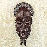 African wood mask, 'Tribal Baule' - Handcrafted Sese Wood Baule-Style African Mask from Ghana