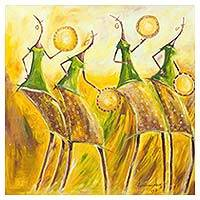 'Calabash Dancers' - Signed Expressionist Painting of Dancing Women from Ghana