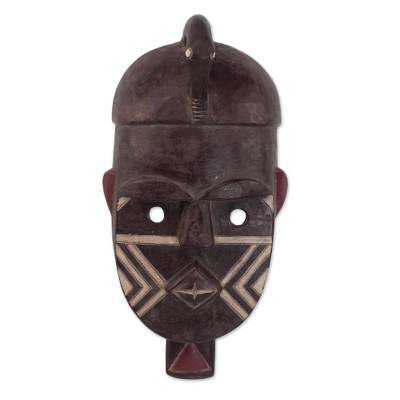 African Wood Kuba Initiation Ceremony Mask from Ghana