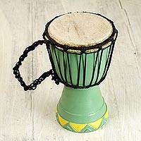 Wood mini djembe drum, 'Gathering' - West African Hand Carved Wood Mini Djembe Goblet Drum