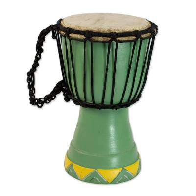 West African Hand Carved Wood Mini Djembe Goblet Drum