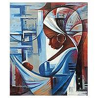 'Mother and Child' - Expressionist Painting of a West African Mother and Child