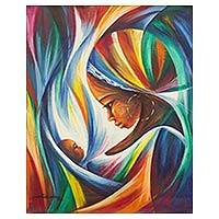 'Mother with Baby' - Original Signed Mother and Child Painting in Rainbow Colors
