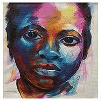'Focus' - Multicolor Signed Original Portrait of a Ghanaian Boy
