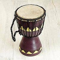 Wood mini djembe drum, 'African Aubergine' - Authentic African Mini Djembe Drum Crafted by Hand
