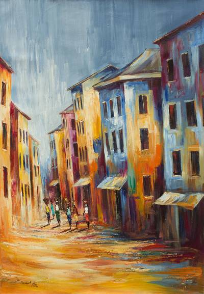 'Life' - Signed Original Painting of a West African Town