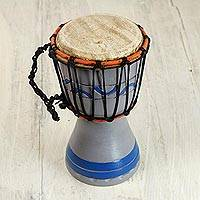 Wood mini djembe drum, 'Anomabu Waves' - Handcrafted Grey and Blue Authentic African Mini Djembe Drum